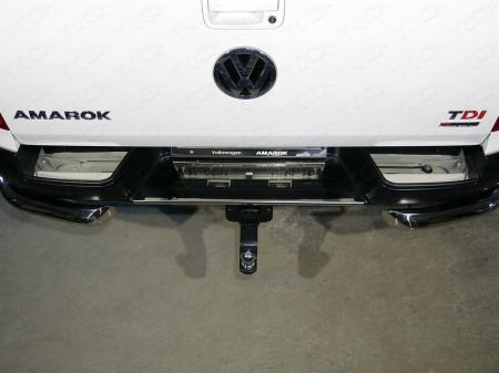 Volkswagen Amarok 2016-Накладки на задний бампер (лист зеркальный)